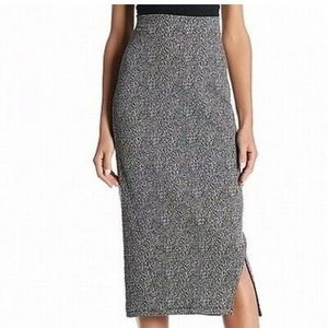 Soft knit black and white mix pencil skirt